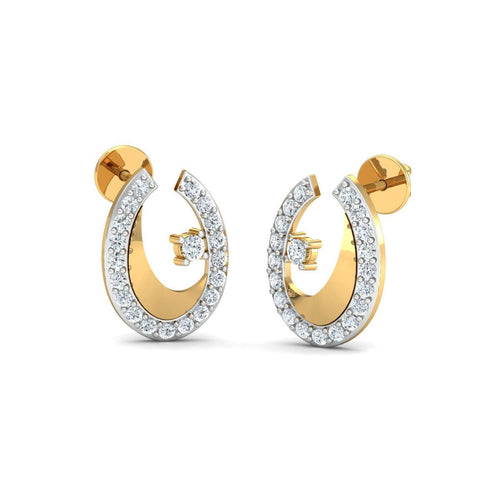 18kt Yellow Gold 0.28ct Pave Diamond Infinity Earrings
