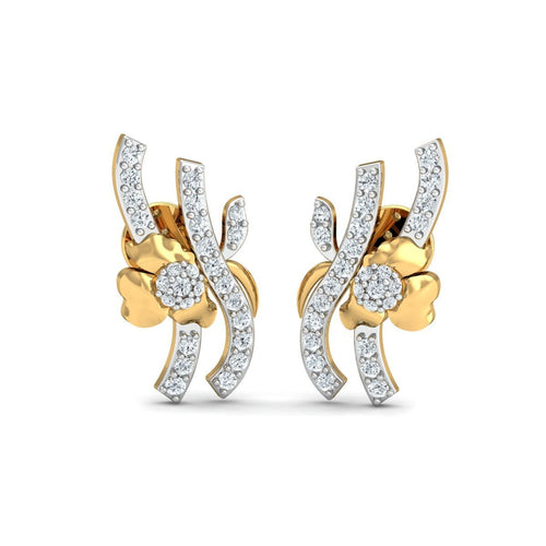 18kt Yellow Gold 0.32ct Pave Diamond Infinity Earrings
