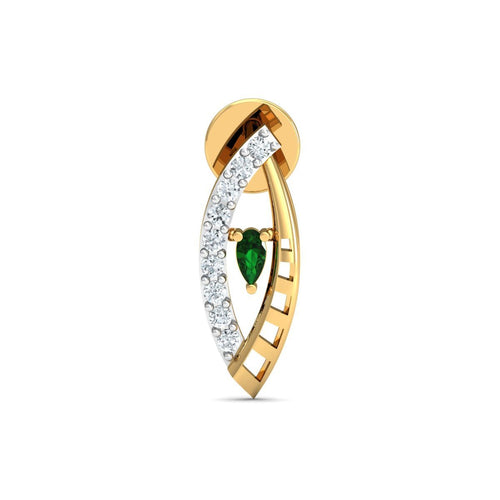 18kt Yellow Gold 0.09ct Pave Diamond Infinity Earrings With Emerald