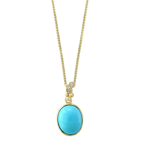14kt Yellow Gold Diamond And Turquoise Pendant