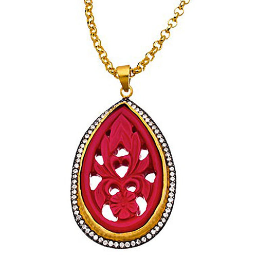 Carved Pendant Necklace-Meghna Jewels-JewelStreet US