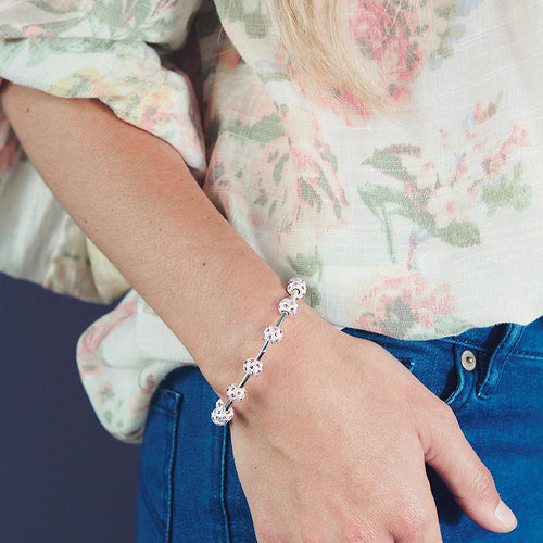 Peony Crystal and Silver Bracelet-Chelsea Charles-JewelStreet EU