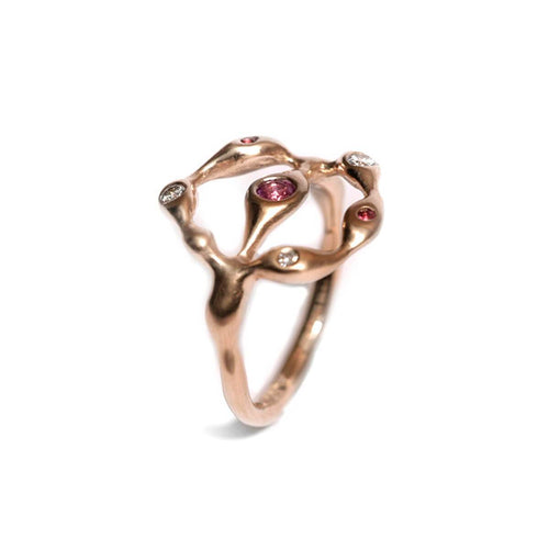 18kt Rose Gold Pink Anemone Sea Creatures Ring