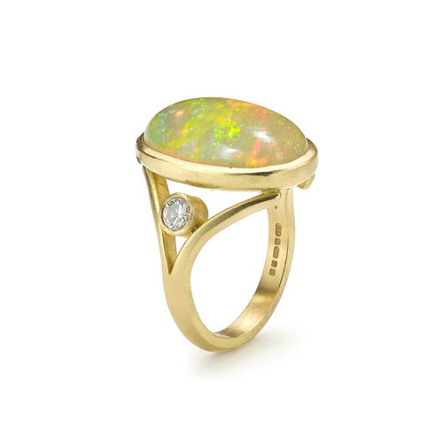 18kt Yellow Gold Ethiopian Opal & Diamond Split Shank Ring