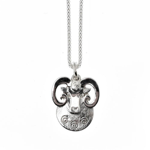 Sterling Silver Aries Ram Pendant