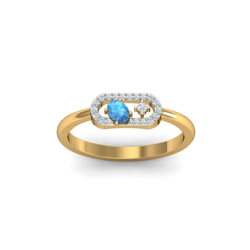 18kt Yellow Gold Pave 0.07ct Diamond Infinity Ring With Aquamarine