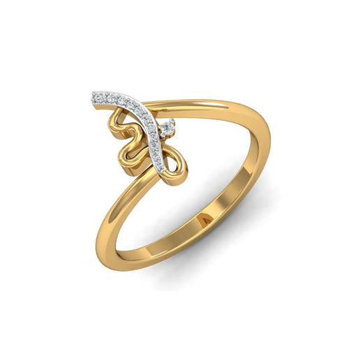 18kt Yellow Gold Pave 0.04ct Diamond Infinity Ring II