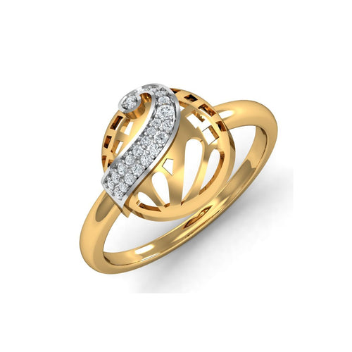 18kt Yellow Gold Pave 0.11ct Diamond Infinity Ring I