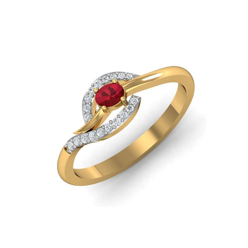 18kt Yellow Gold Pave 0.10ct Diamond Infinity Ring With Ruby