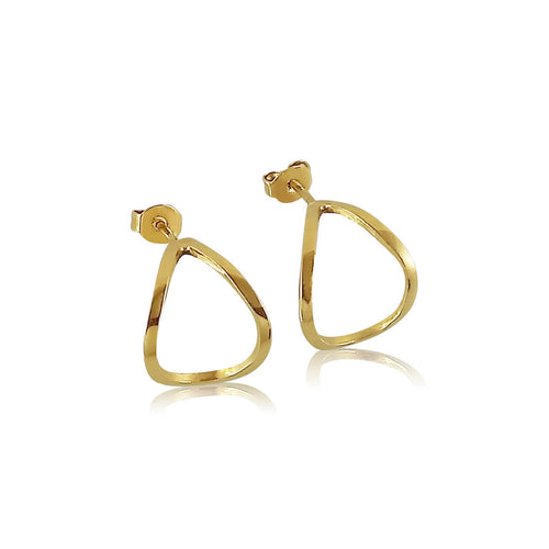 18kt Yellow Gold Silver Linings Hoops ,[product vendor],JewelStreet
