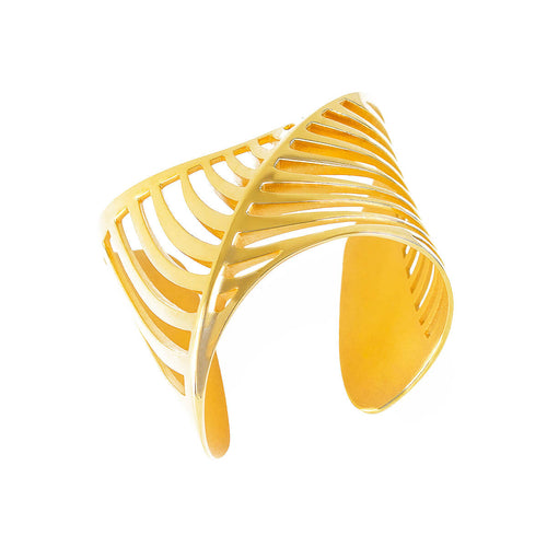 Yellow Gold Vermeil Cut-Out Sharch Bangle ,[product vendor],JewelStreet