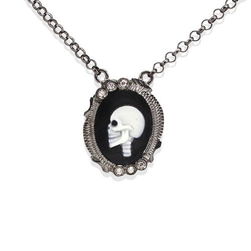 Black Rhodium Plated Silver Skully Cameo Necklace ,[product vendor],JewelStreet