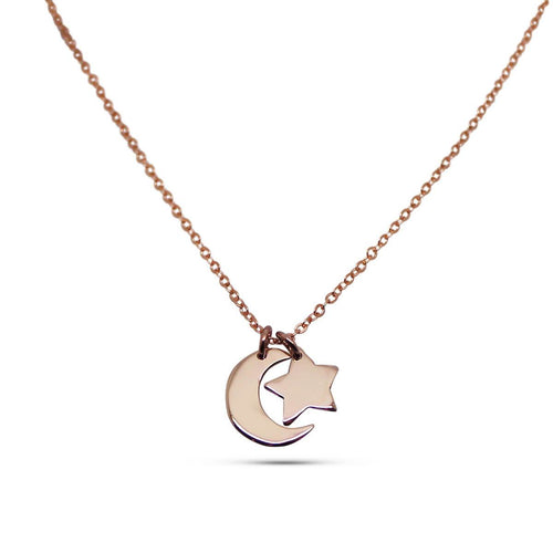 9kt Yellow Gold Little Star & Moon Necklace