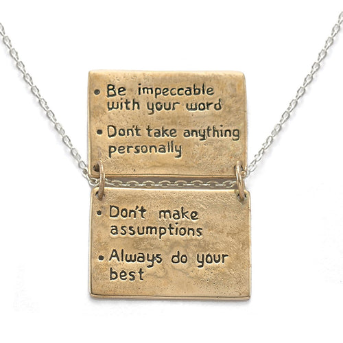 Four Agreements Book Necklace In Bronze-House of Alaia-JewelStreet EU