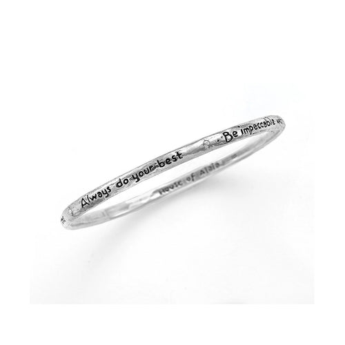 Four Agreements Reminder Bangle In Silver Large-House of Alaia-JewelStreet EU