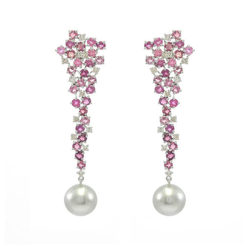 Cascading Tourmaline & Diamond Earrings With Tahitian Pearl