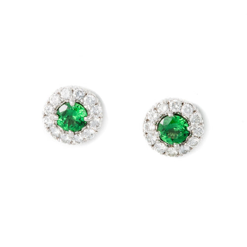 White Gold & Tsavorite Bijoux Stud Earrings | Katherine LeGrand