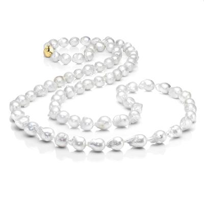 Les Trois Corniches White Baroque Pearl Rope Necklace ~ Gold Clasp 36 inches ,[product vendor],JewelStreet