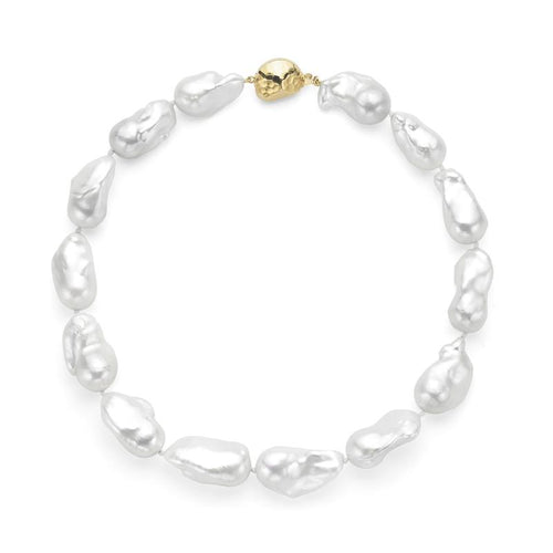 Le Croisette Large White Baroque Freshwater Pearl Necklace - Gold Clasp ,[product vendor],JewelStreet