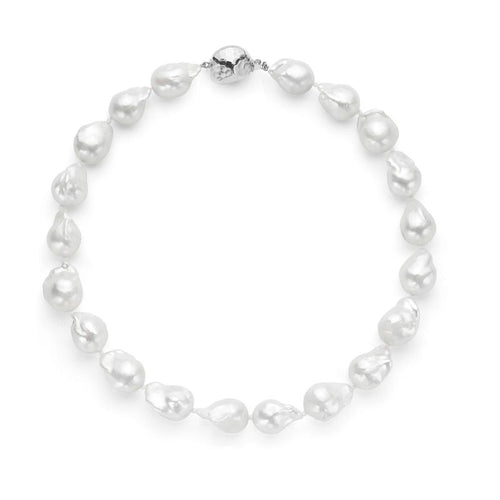 Les Trois Corniches Large White Baroque Freshwater Pearl Necklace ~ Sterling Silver Clasp 16 inches ,[product vendor],JewelStreet