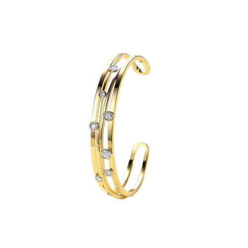 Gold & Diamond Ferns Cuff Bracelet | Van der Veken