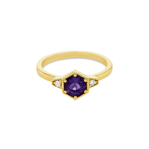 9kt Yellow Gold Manhattan Amethyst Ring