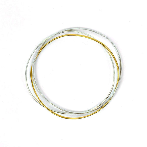 Wave Bangle Cluster - Two Silver, One Vermeil-FRAN REGAN JEWELLERY-JewelStreet EU