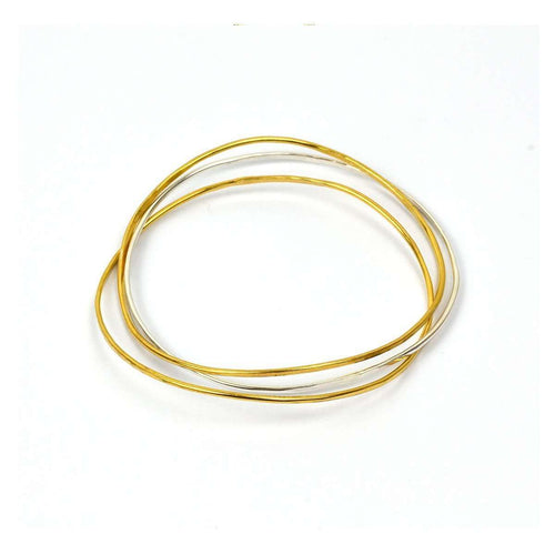 Wave Bangle Cluster - Two Vermeil, One Silver-FRAN REGAN JEWELLERY-JewelStreet EU
