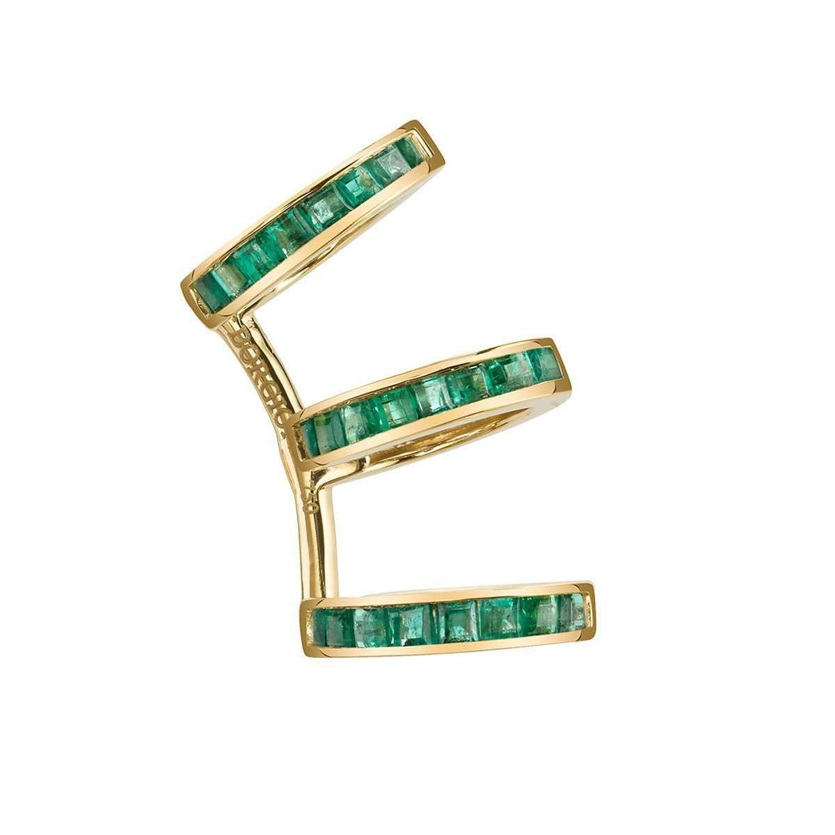Baguette Triple Ear Cuff with Emeralds
