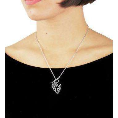 Aimee Silver & Diamond Heart Necklace-Lily and Lotty-JewelStreet EU