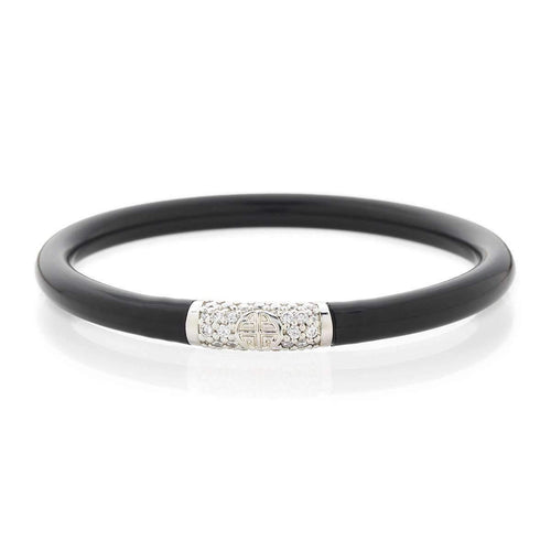 Black All Weather Bangles With Silver Bead-BuDhaGirl-JewelStreet US