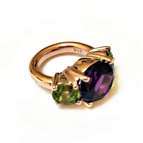 Amethyst And Peridot Cocktail Ring-Beryl Dingemans Jewellery-JewelStreet EU