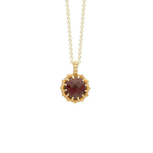 Bloomsbury Yellow Gold Garnet Coronation Pendant-London Road Jewellery-JewelStreet EU