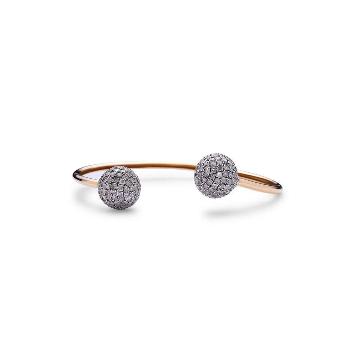 Gold and Diamond Sphere Bangle ,[product vendor],JewelStreet EU