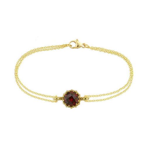 Bloomsbury Yellow Gold Chequer-cut Garnet Coronation Bracelet-London Road Jewellery-JewelStreet EU