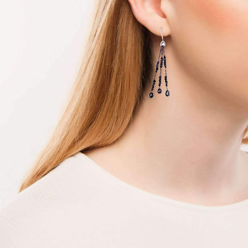Black Diamond White Gold Black Tassel Drop Earrings-Earrings-London Road Jewellery-JewelStreet