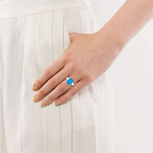 Bloomsbury White Gold Blue Topaz Ring-London Road Jewellery-JewelStreet EU