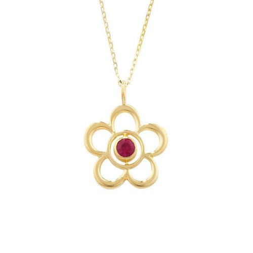 Blossom Birthstone Yellow Gold Ruby Pendant-London Road Jewellery-JewelStreet EU