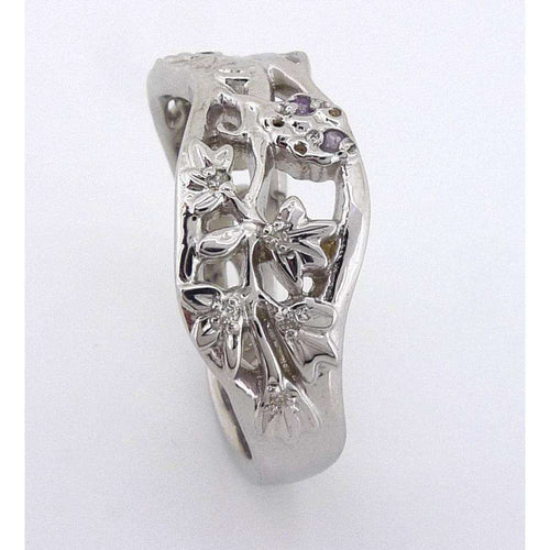 9kt Fairtrade White Gold Flower Ring-Rachel Helen Designs-JewelStreet EU