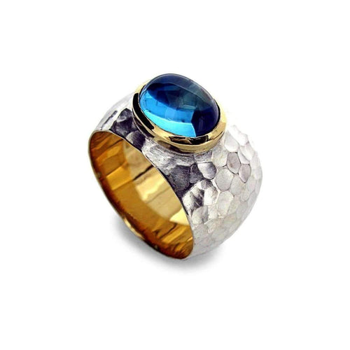 Blue Topaz Ring In Silver and Gold-Rings-Will Bishop-JewelStreet