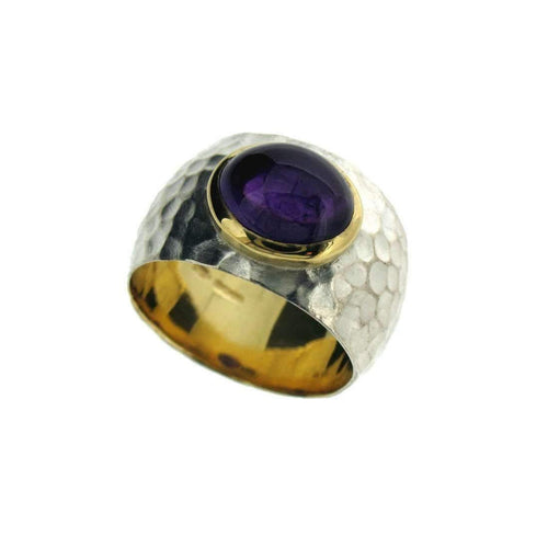 Amethyst Ring In Silver and Gold-Rings-Will Bishop-JewelStreet