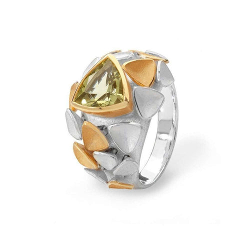 Gold Mariposa Cocktail Ring With Citrine-Charmian Beaton Designs-JewelStreet EU
