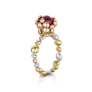 Coalescence Ruby Tri Gold Ring
