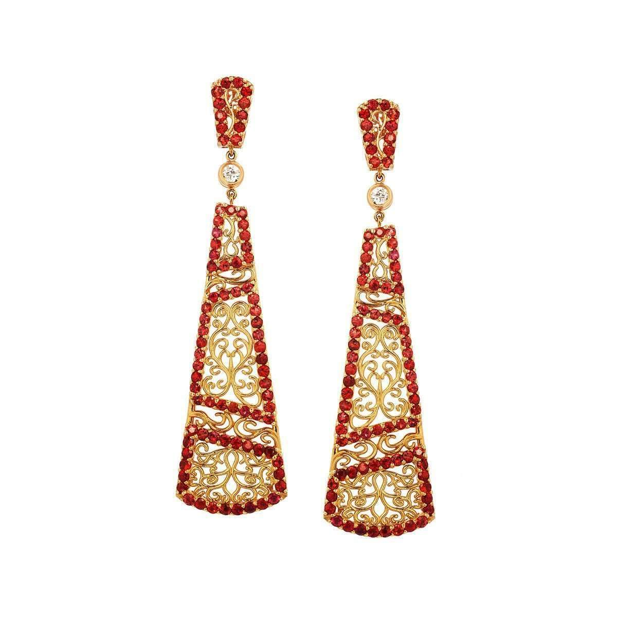 """Trellis Vine"" Earring with Red Sapphires and Diamonds"