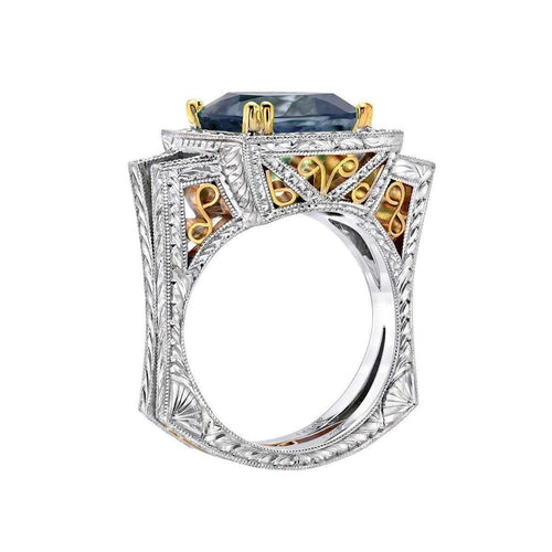 """Eugenio"" Ring with Rare Unheated Tanzanite and Diamonds"
