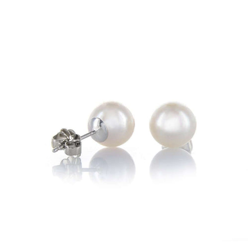 White Akoya Pearl And White Gold Earring Studs ,[product vendor],JewelStreet EU