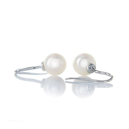 White Freshwater Pearl And White Gold Earring Studs ,[product vendor],JewelStreet EU