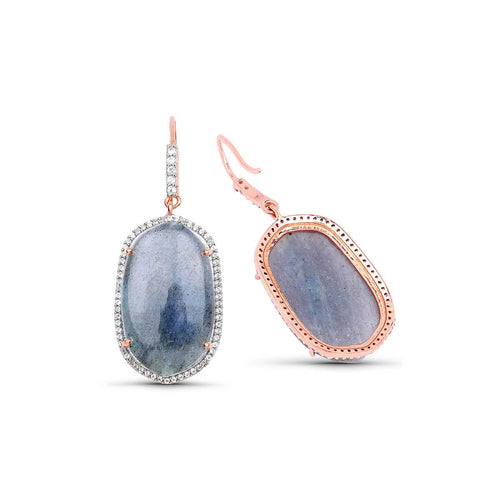 14kt Rose Gold Plated Silver Large Bright Labradorite Earrings