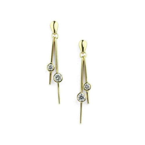 18kt Gold Double Diamond Earrings-Prism Design-JewelStreet EU