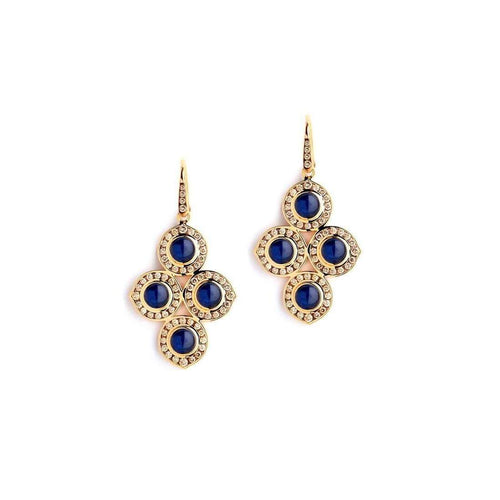 18kt Quad Blue Sapphire & Champagne Diamond Earrings-Syna-JewelStreet EU